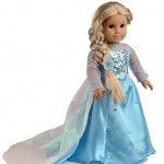 Ebuddy ® Disney Frozen Elsa and Anna Sparkle Princess Dress for 18″ American Girl Doll Clothes